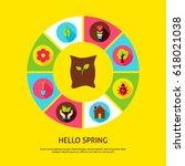 hello spring concept. vector...   Shutterstock .eps vector #618021038