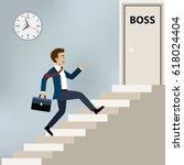 businessman running upstairs to ... | Shutterstock .eps vector #618024404