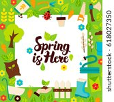 spring is here paper template.... | Shutterstock .eps vector #618027350