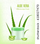 aloe moisturizing cream. aloe... | Shutterstock .eps vector #618027470