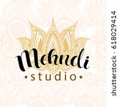 illustration mehndi studio logo ... | Shutterstock .eps vector #618029414