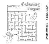 cartoon monkey maze game.... | Shutterstock .eps vector #618039824