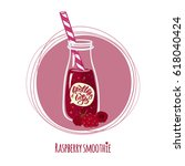 raspberry smoothie. cute bottle ... | Shutterstock .eps vector #618040424
