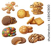 set of delicious cookies.... | Shutterstock .eps vector #618042800