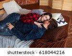 beautiful couple having fun ... | Shutterstock . vector #618044216