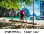 traveler woman in bikini and... | Shutterstock . vector #618044864
