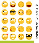 set of cute emoticons. emoji... | Shutterstock .eps vector #618048110