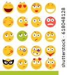 set of cute emoticons. emoji... | Shutterstock .eps vector #618048128