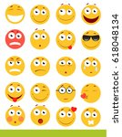 set of cute emoticons. emoji... | Shutterstock .eps vector #618048134