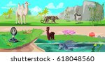colorful asian animals... | Shutterstock .eps vector #618048560