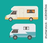 retro camper trailer collection.... | Shutterstock .eps vector #618048566