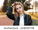 beautiful young woman in... | Shutterstock . vector #618050738