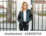 young girl student in black...   Shutterstock . vector #618050744