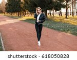 pretty young athletic woman in... | Shutterstock . vector #618050828