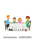 family meal. father mother  son ... | Shutterstock .eps vector #618051854
