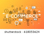 e commerce  online shopping and ... | Shutterstock .eps vector #618053624