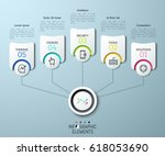 5 paper white elements  thin... | Shutterstock .eps vector #618053690