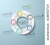 circular chart with 5 white... | Shutterstock .eps vector #618053714