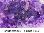 macro photo of lilac amethyst... | Shutterstock . vector #618054119