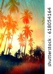 retro photo of watercolor palm... | Shutterstock . vector #618054164