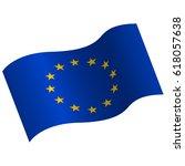 waving flag of european union.... | Shutterstock .eps vector #618057638