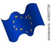 waving flag of european union.... | Shutterstock .eps vector #618057728