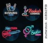 set neon sign. neon sign ... | Shutterstock .eps vector #618061958