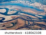 aerial view of earth river delta | Shutterstock . vector #618062108