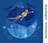 diving underwater people diver... | Shutterstock .eps vector #618063410