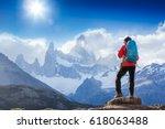 active hiker hiking  enjoying...   Shutterstock . vector #618063488