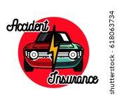 color vintage accident... | Shutterstock . vector #618063734