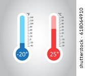 celsius and fahrenheit... | Shutterstock .eps vector #618064910