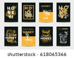vector hand drawn honey poster... | Shutterstock .eps vector #618065366