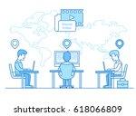linear flat businessmen sitting ... | Shutterstock .eps vector #618066809