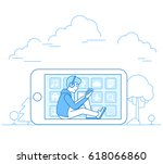 linear flat young man using his ... | Shutterstock .eps vector #618066860