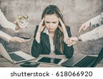 female office worker is tired... | Shutterstock . vector #618066920