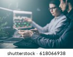 analyzing data  graphs and...   Shutterstock . vector #618066938