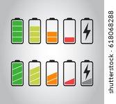 battery icon vector set...   Shutterstock .eps vector #618068288