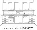 kitchen furniture. sketch in... | Shutterstock .eps vector #618068570