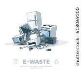e waste electrical and... | Shutterstock .eps vector #618069200