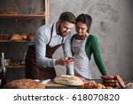 image of happy loving couple... | Shutterstock . vector #618070820