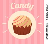 candy on pink background.... | Shutterstock .eps vector #618071060