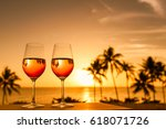 romantic dinning by the beach.... | Shutterstock . vector #618071726