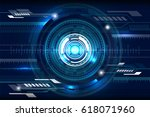 abstract technology circle blue ... | Shutterstock .eps vector #618071960