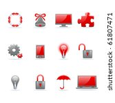 set of 12 glossy web icons.... | Shutterstock .eps vector #61807471