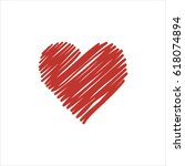 hand drawn red heart on white... | Shutterstock . vector #618074894