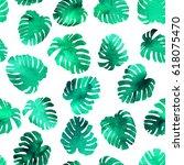watercolor seamless tropical...   Shutterstock . vector #618075470