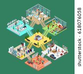 flat isometric shopping mall... | Shutterstock .eps vector #618076058