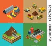 flat isometric metallurgical... | Shutterstock .eps vector #618076106