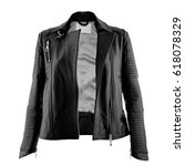 female leather jacket on... | Shutterstock . vector #618078329